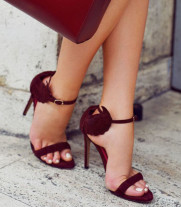 summer elegant woman wine red suede sandals charming wings